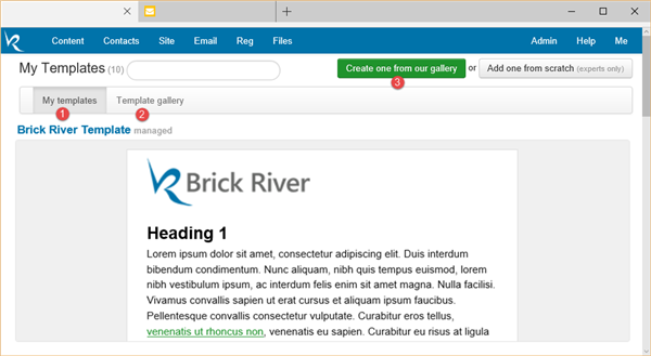 Registration And Email Templates Brick River